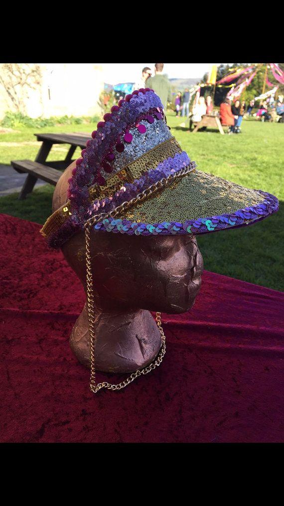 a619b36b5 Festival embellished gold & pink sequin and glitter hat visor ...