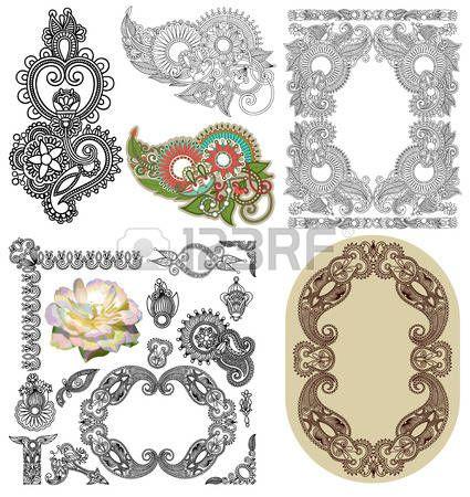 Vector conjunto de marco y la flor caligr fica de dise o vintage ...