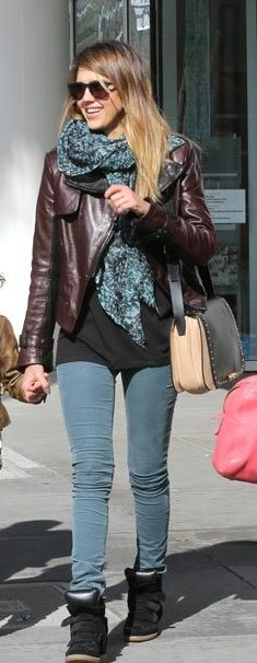 Jessica Alba wearing Isabel Marant Bekket High Top Suede Sneakers, Out for Breakfast in Beverly Hills CA January 26 2013