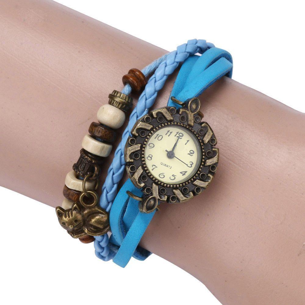 Womanus leather weave around bracelet quartz cat watch bracelet