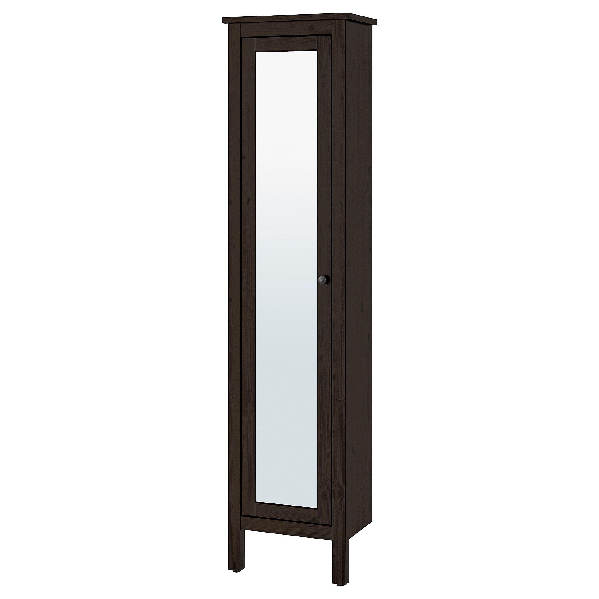 Hemnes Armoire Haute A Porte Miroir Brun Noir 19 1 4x12 1 4x78 3 4 49x31x200 Cm Avec Images Porte Miroir