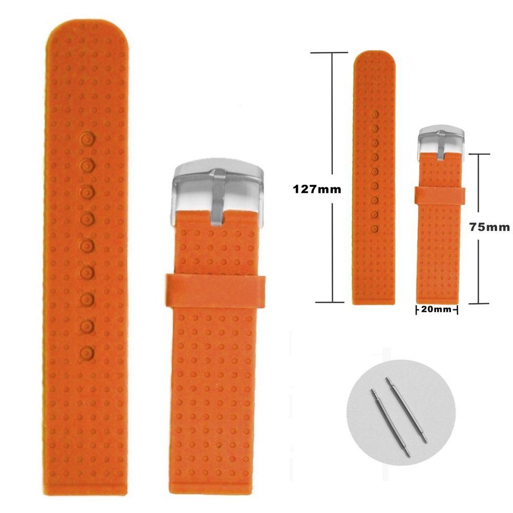 20ミリメートルパンプキンオレンジシリコーンゼリーラバーレディース時計バンドストラップWB1053H20JB