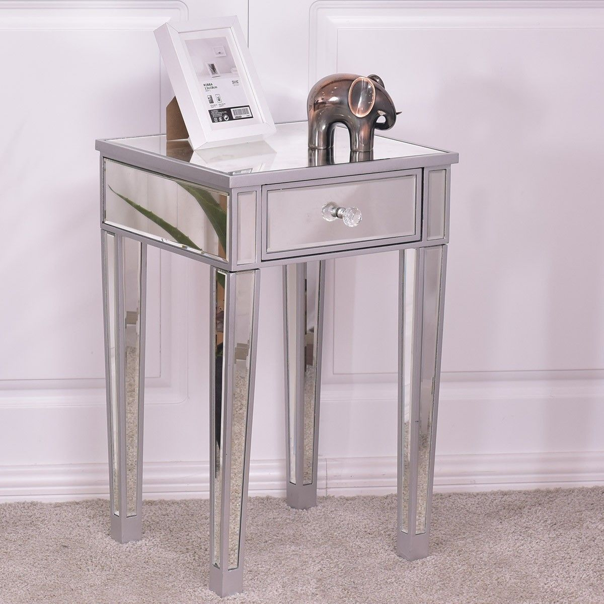 Mirrored Accent Table With Drawer Part - 19: Chic Mirrored Accent Table End Table with Storage Drawer