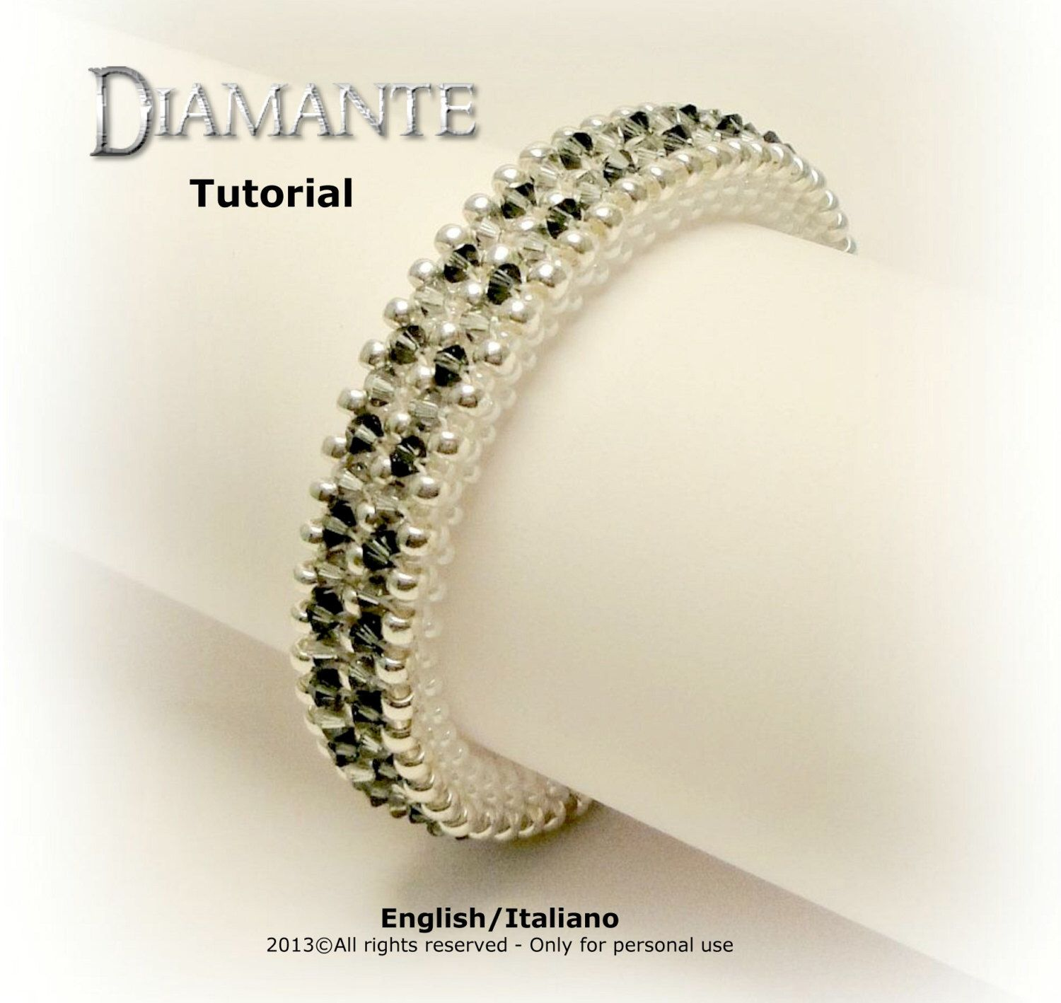 Tutorial diamante bangle beading pattern par fucsiastyle sur etsy