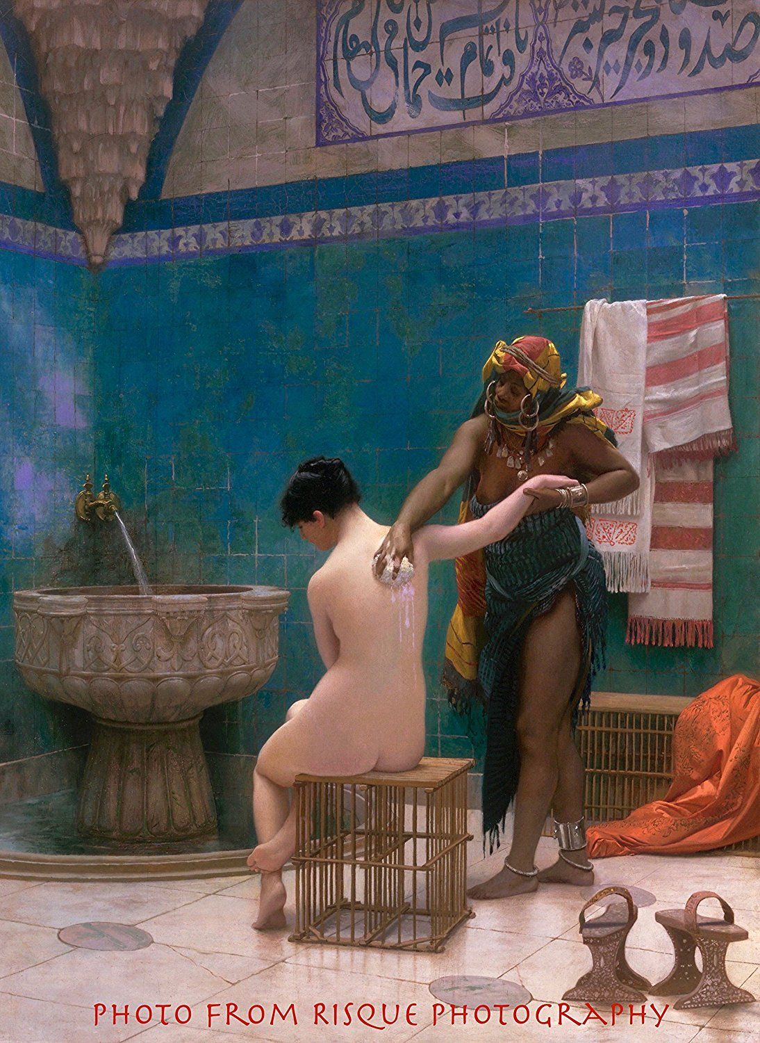 Nude Woman Bathing In A Harem Naked Female Being Bathed By Another Erotic Painting Jean Leon Gerome