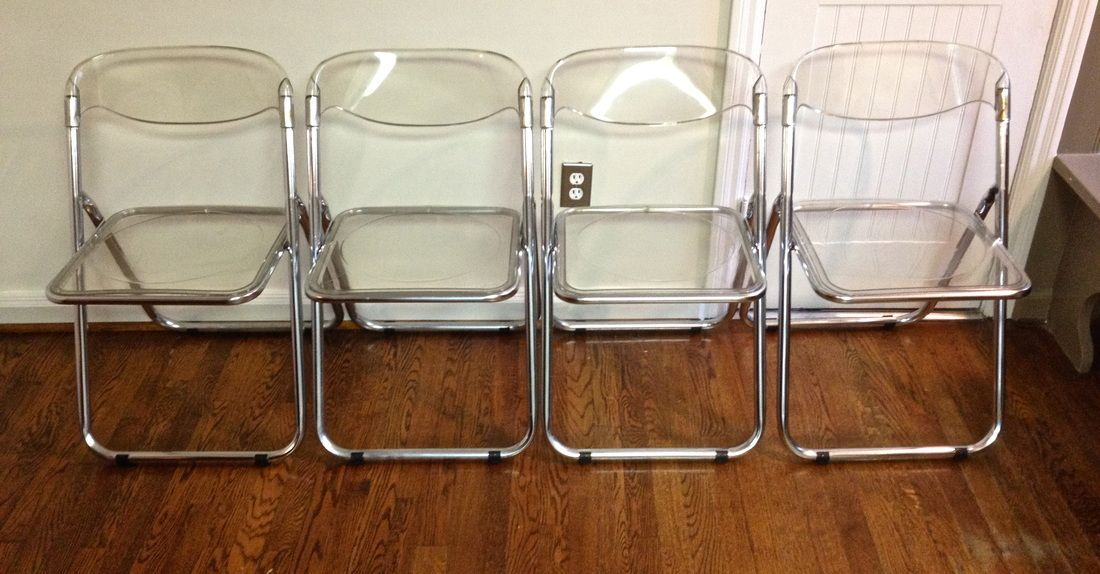 Furniture, Four Sets Of Folded Lucite Chairs With Transparent Seating And  Back Panels Brushed Hardwood Floor ~ Lucite Folding Chairs: Afford Extra  Comfort ...