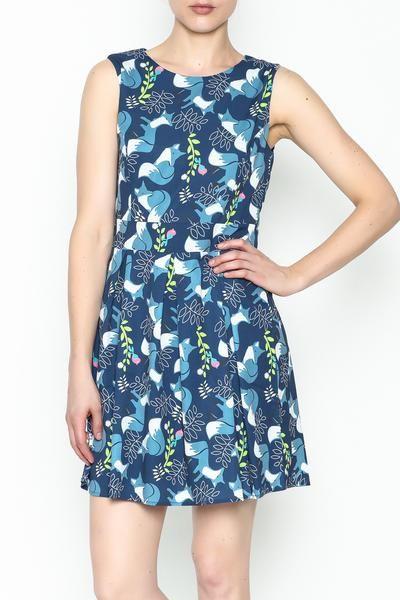 Fox Print Dress Blue, foxes, fox, summer dress, sun dress, fit and flare dress, cute summer dress, printed dress, fashion inspiration, blog, blogger, outfit inspiration, school outfit, dress, outfit