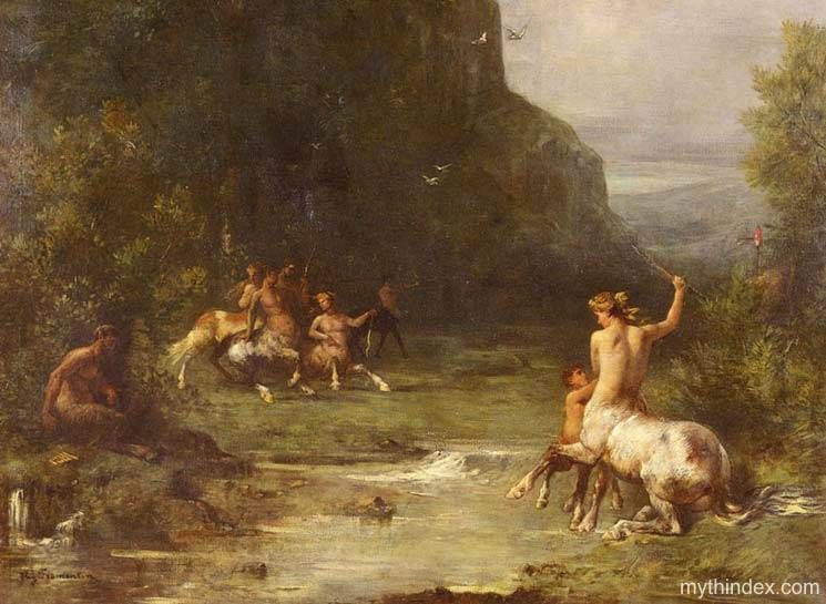 Centaurs and Centauresses (detail), by Eugène Fromentin ...