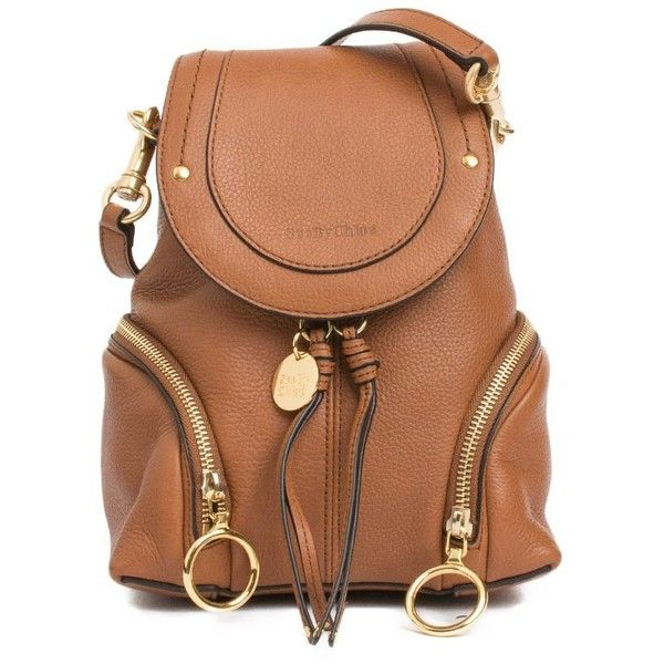 See by Chloe Small Olga Backpack (595 AUD) ❤ liked on Polyvore featuring bags, backpacks, backpack, marrone, leather backpack, day pack backpack, snap backpack, strap backpack and leather daypack