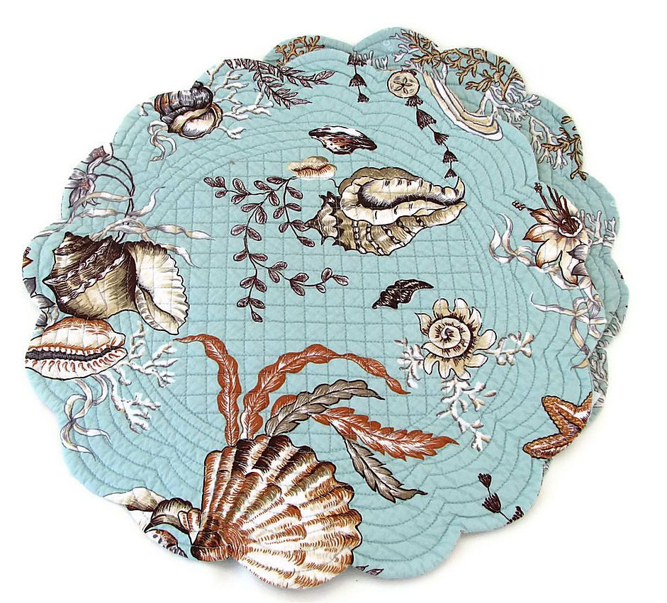 """Under the Sea 17"""" round quilted placemat and matching cloth napkin, seashells, a - Kitchen placemats, cloth napkins, hand towels, kitchen to..."""