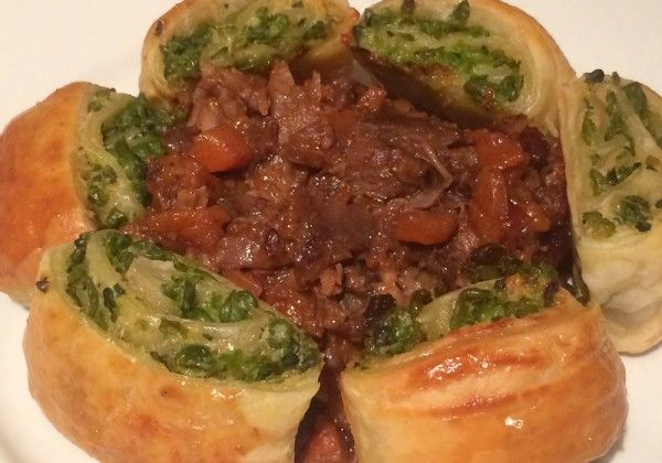 Happy Father's Day dinner: Deconstructed lamb shank pie with minted mushy pea scrolls
