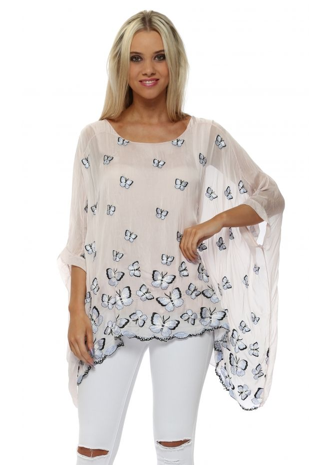 cae515795e273 MADE IN ITALY Baby Pink Silk Butterfly Embroidered Batwing Top ...