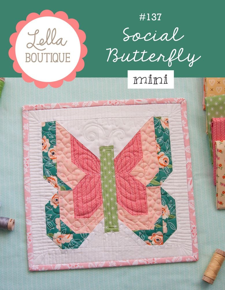 Image Of 137 Social Butterfly Mini Pdf Pattern Butterfly Quilt Pattern Mini Quilt Patterns Butterfly Quilt