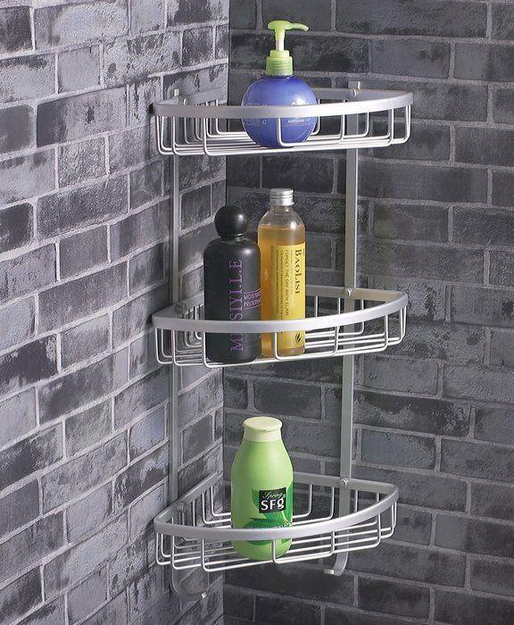 BATHROOM DESIGN: Stainless Steel Corner Shower Caddy Ideas For