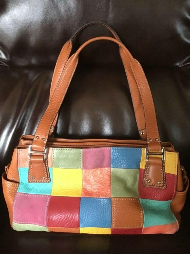 Vintage Fossil Patchwork Purse Leather Suede Multicolor