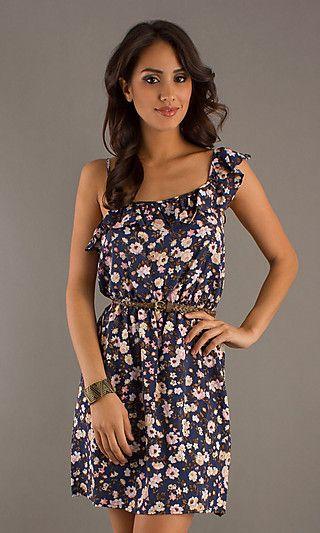 Short Floral Print Summer Dress at SimplyDresses.com