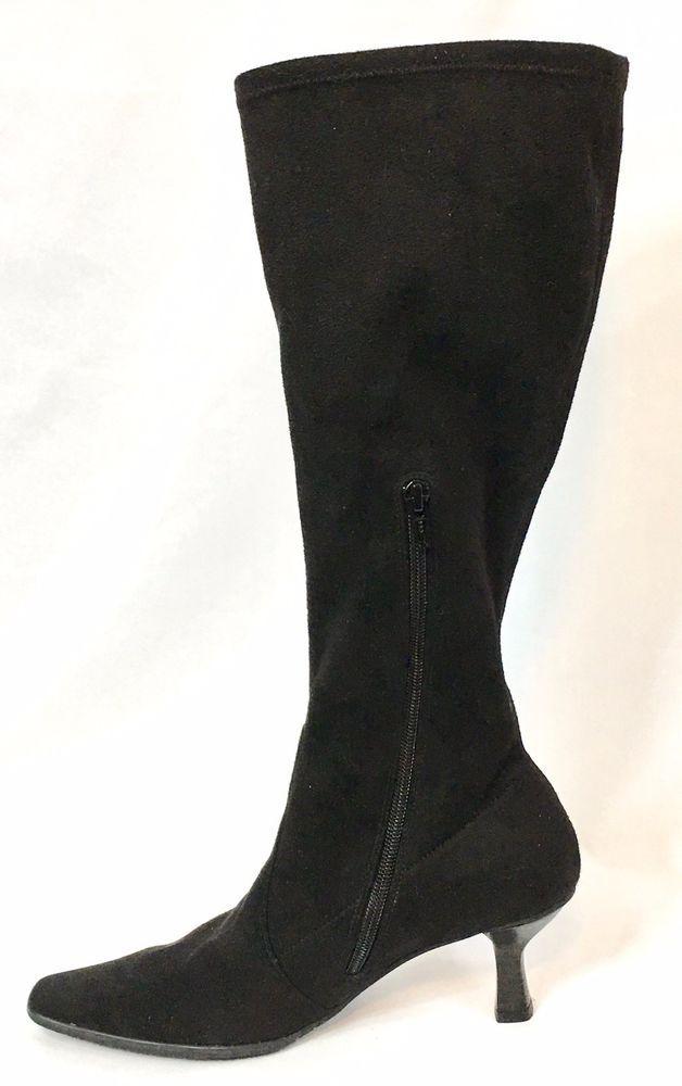 Vaneli Knee High Suede Boots Black Partial Zip Stretch Pointed Toe Kitten Heel Vaneli Kneehighb Suede Boots Knee High Black Suede Boots How To Stretch Shoes