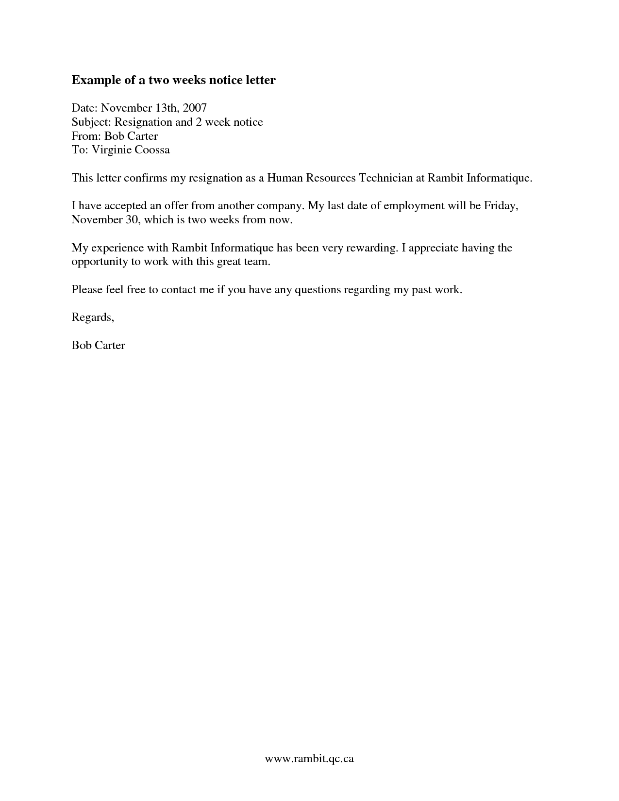 2 Weeks Notice Letter Resignation Week WordsWriting A Of Email Sample