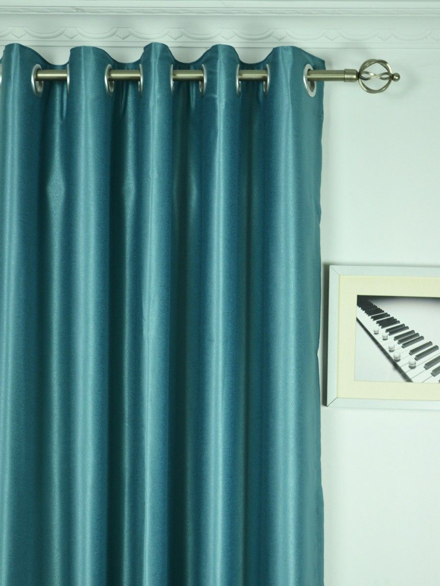 Extra Wide Swan Gray And Blue Solid Grommet Curtains 100 Inch