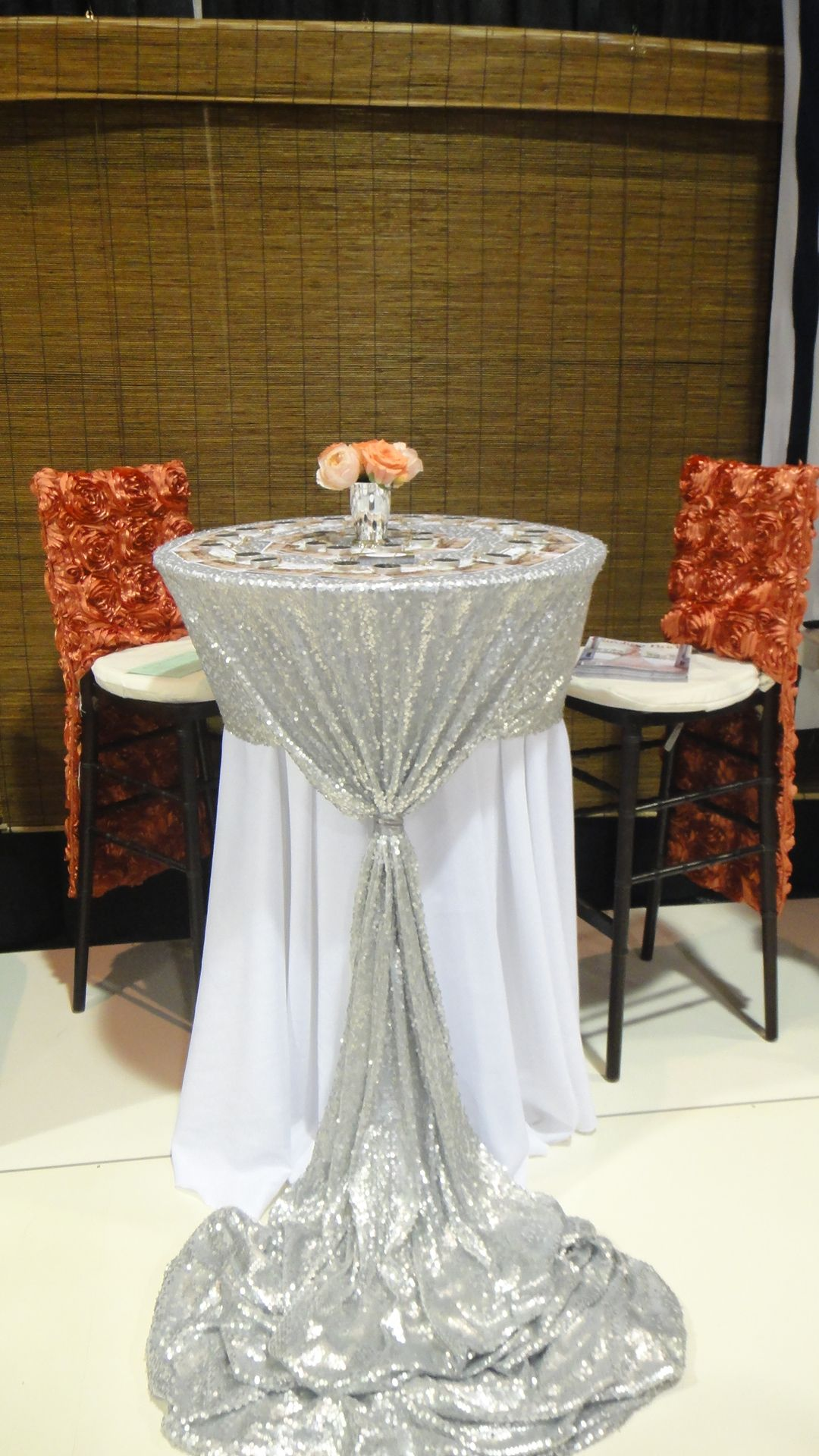 Fun Tall Cocktail With Custom Silver Sequin Linen Cake Table Decorations Wedding Table Linens Wedding Cocktail Tables