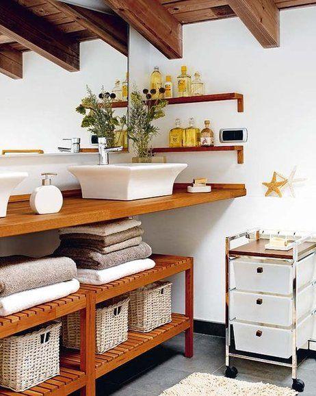 Encimera de madera para el baño   Diseño de baños ...