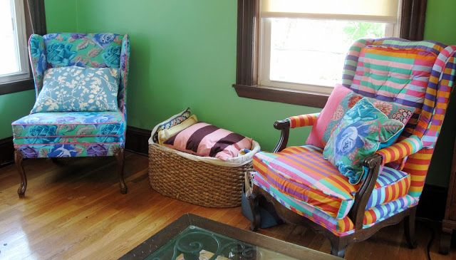 Old chairs recovered in Kaffe Fassett fabrics. LOVE it!!!!