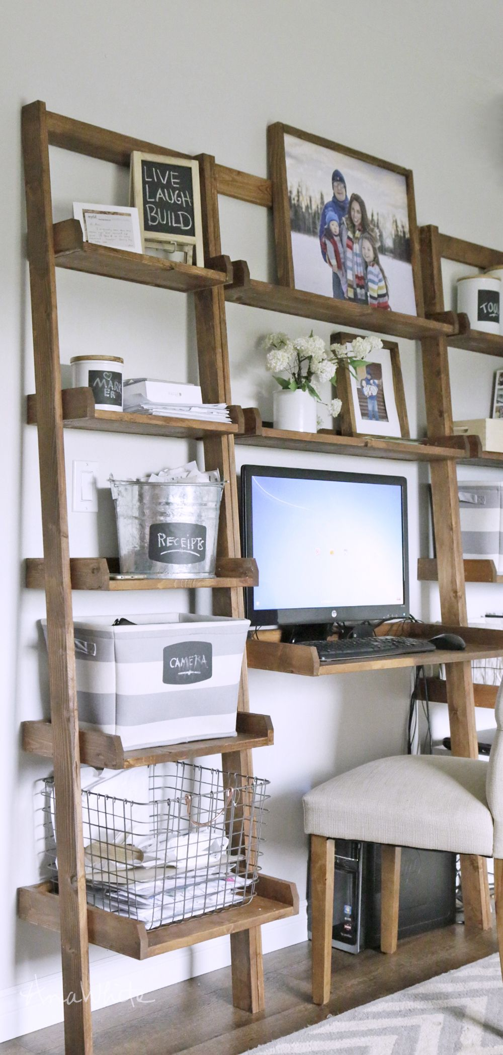 Ana white build a leaning ladder wall bookshelf free and easy