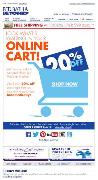 Bed Bath Beyond Abandoned Cart Email 2014 Shopping Cart