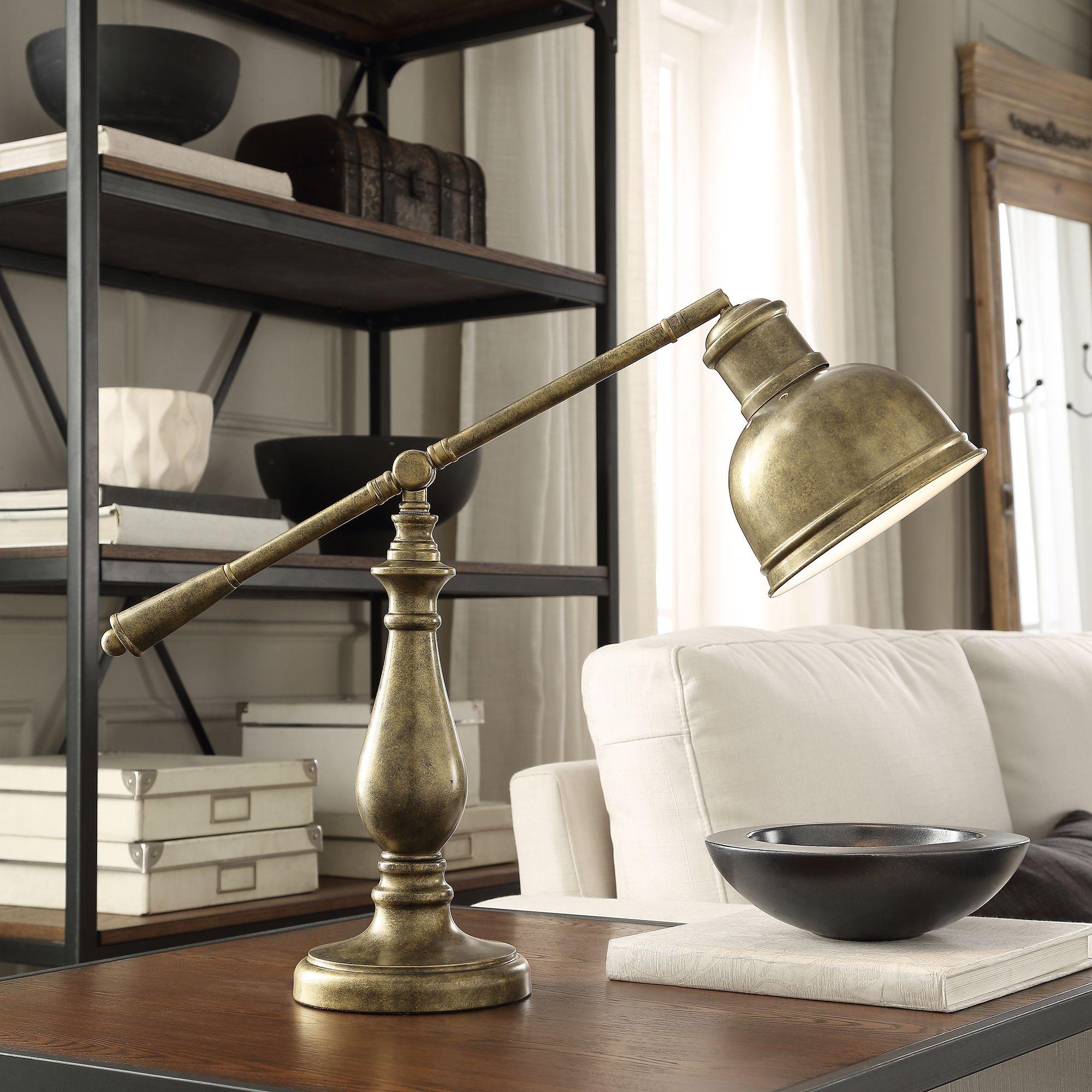 INSPIRE Q Maximus Metal Antiqued Brass 1-light Accent Desk Lamp |  Overstock.com