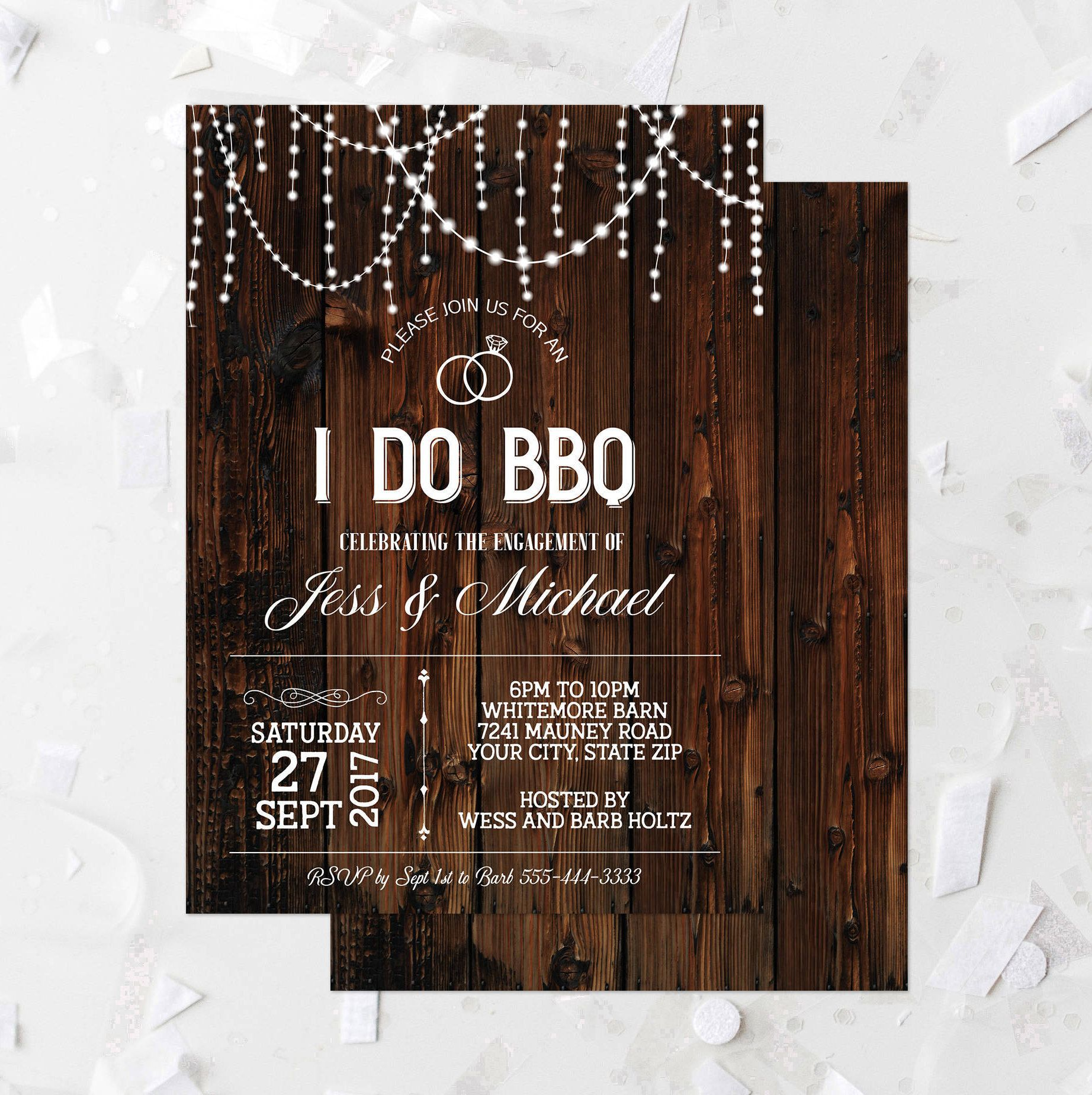 Rustic Wood I Do Bbq Engagement Party Invitation Printable Wood And