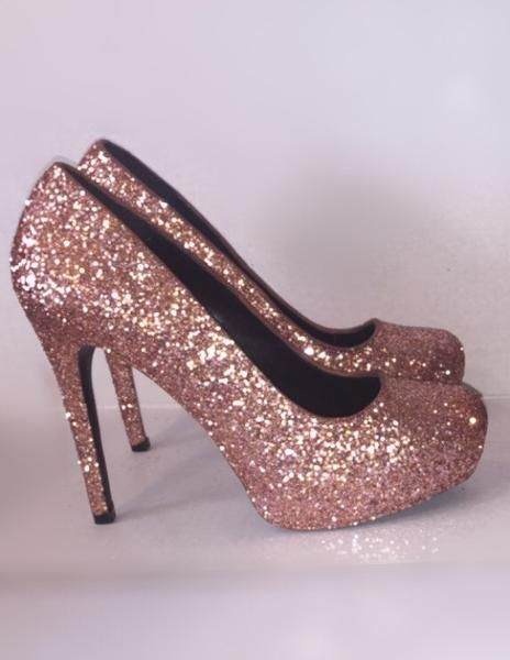 Women s Sparkly Metallic Rose Gold Pink Glitter high   low Heels Stiletto  shoes - Glitter Shoe Co 973d0fe95