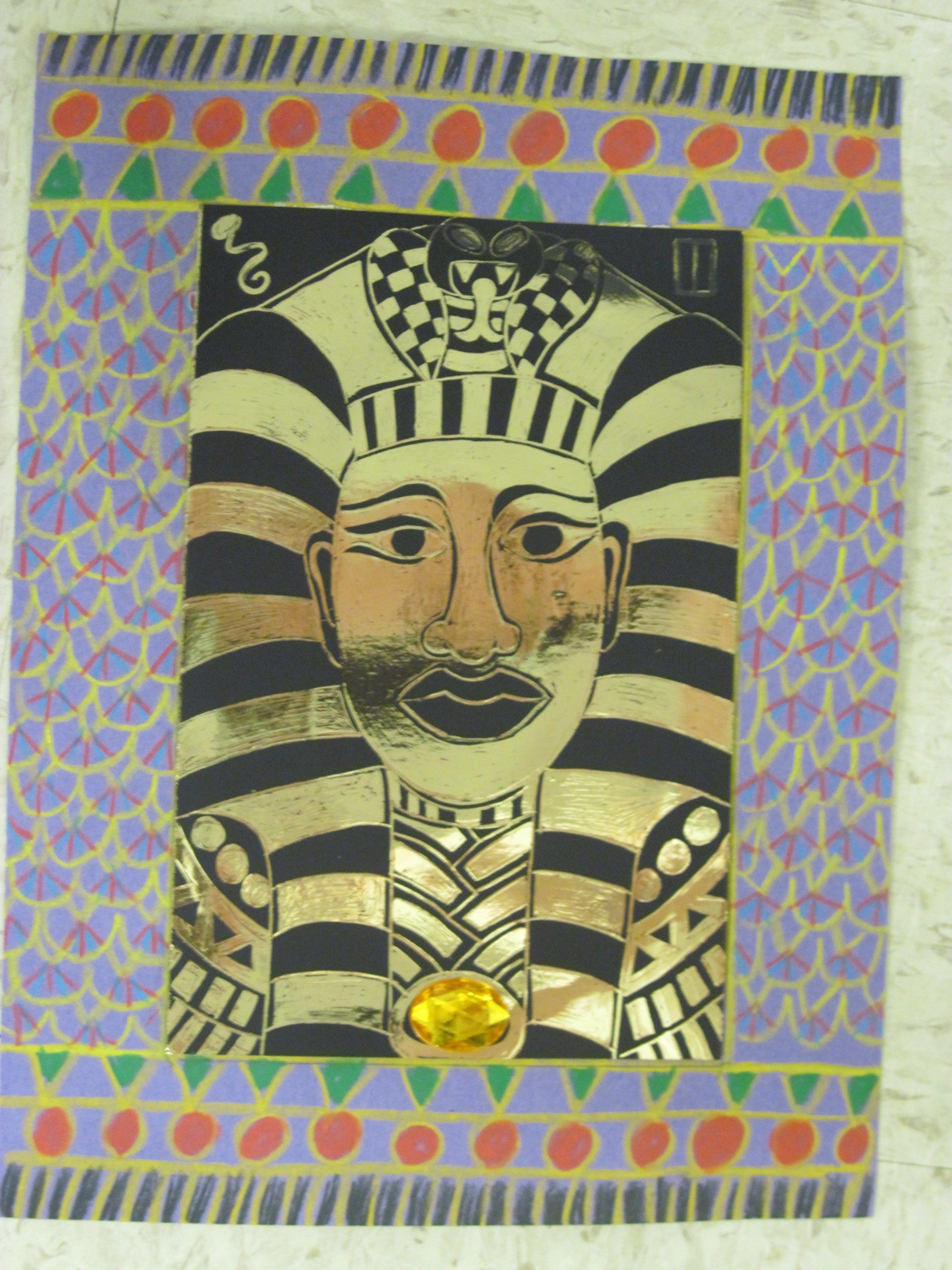 Black And Gold Scratchboard King Tut