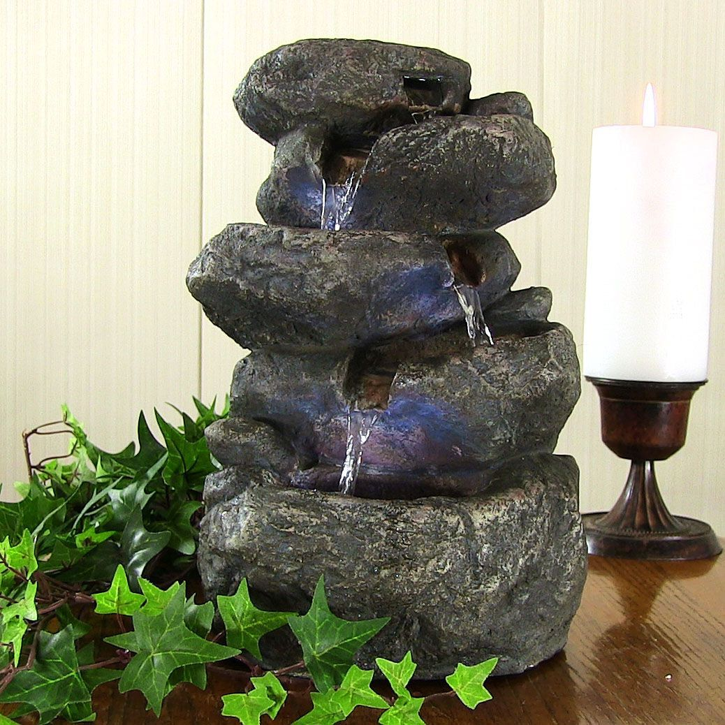 Indoor tabletop desk top rock water fountain for office or home ...