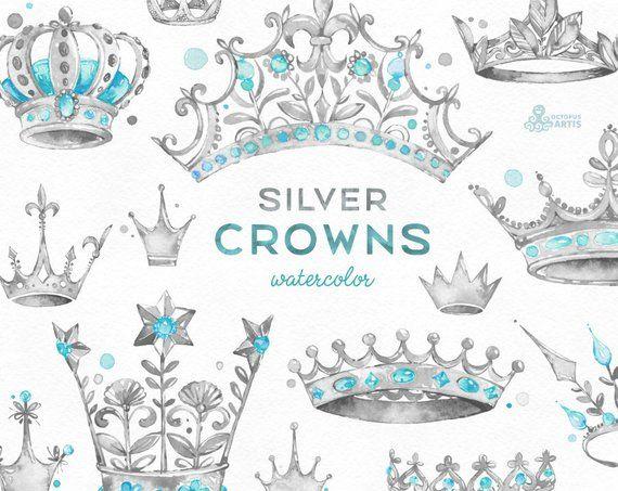 45c60d72cdde Silver Crowns. 14 Watercolor handpainted Clipart. Royal