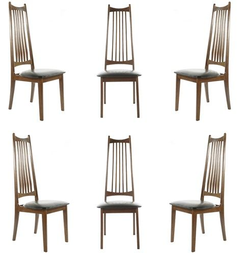 Set Of Six Mid Century Danish Modern High Back Dining Chairs In
