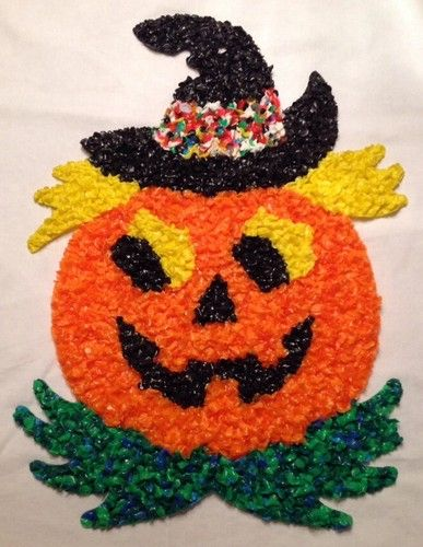 Halloween Pumpkin With Witch Hat Plastic Melted Popcorn Hanging - vintage halloween decorations ebay