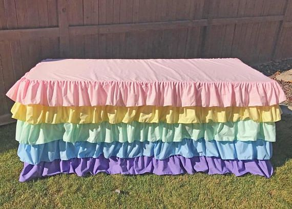 Pastel Rainbow Ruffled Tablecloth 5 Ruffles Tablecloth