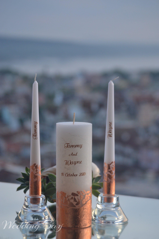 Rose Gold Unity Candle Set Wedding Candle Set Personalized Etsy In 2020 Wedding Candle Set Personalised Wedding Candles Unity Candle Sets