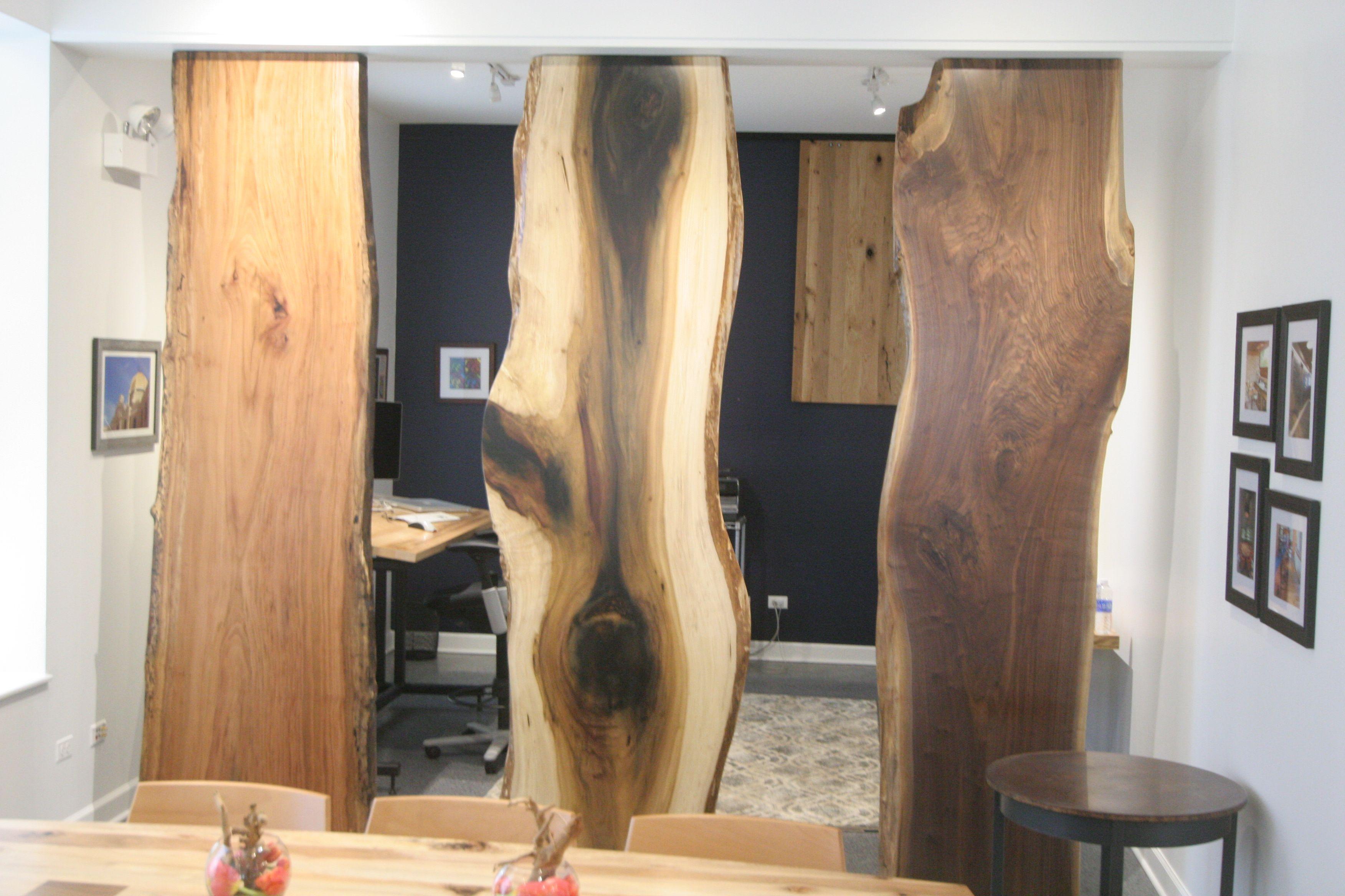Sycamore, rainbow poplar and walnut slabs used vertically as