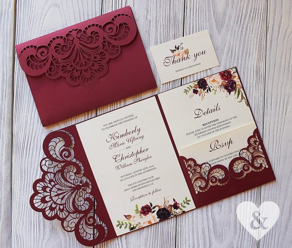 We Will Lovingly Make These Gorgeous Wedding Invitations For You From The Best Ma Wedding Invitation Kits Marsala Wedding Invitation Pocket Wedding Invitations