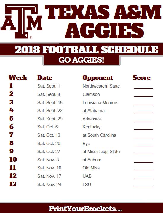 2018 Printable Texas A M Aggies Football Schedule Georgia Bulldogs Football Georgia Bulldogs Oklahoma State Cowboys Football