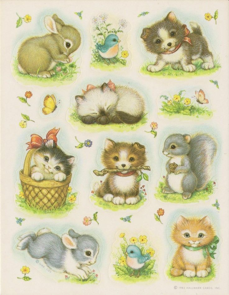 vintage animal decoupage stickers
