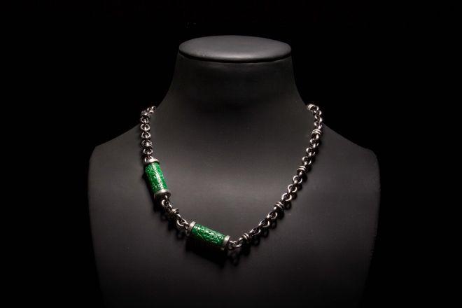 COLAR | Prata com  jade verde e zircónias. NECKLACE | Silver with green jade. CL0162  #MarcoCruzJoalheiro #Jewelry #Joias #Classic #Portugal #Silver #Jewels