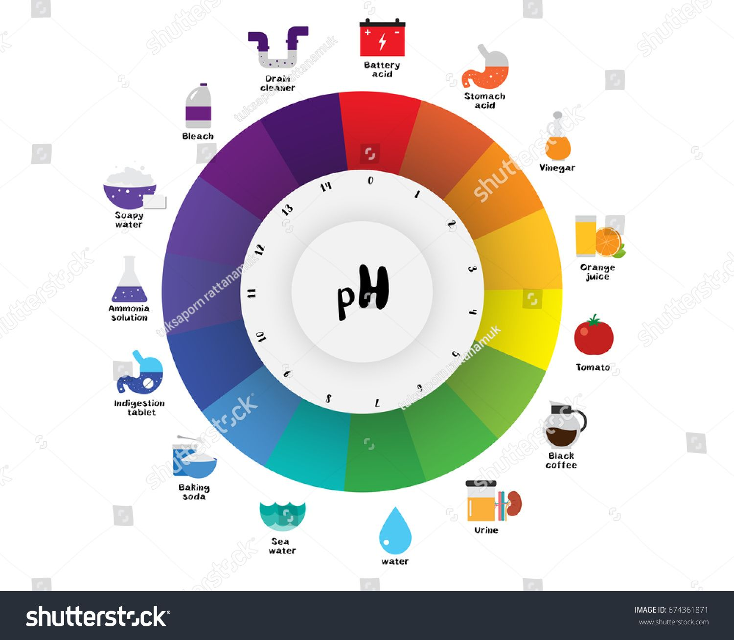 the ph scale universal indicator ph color chart diagram acidic alkaline values common substances vector illustration [ 1500 x 1308 Pixel ]