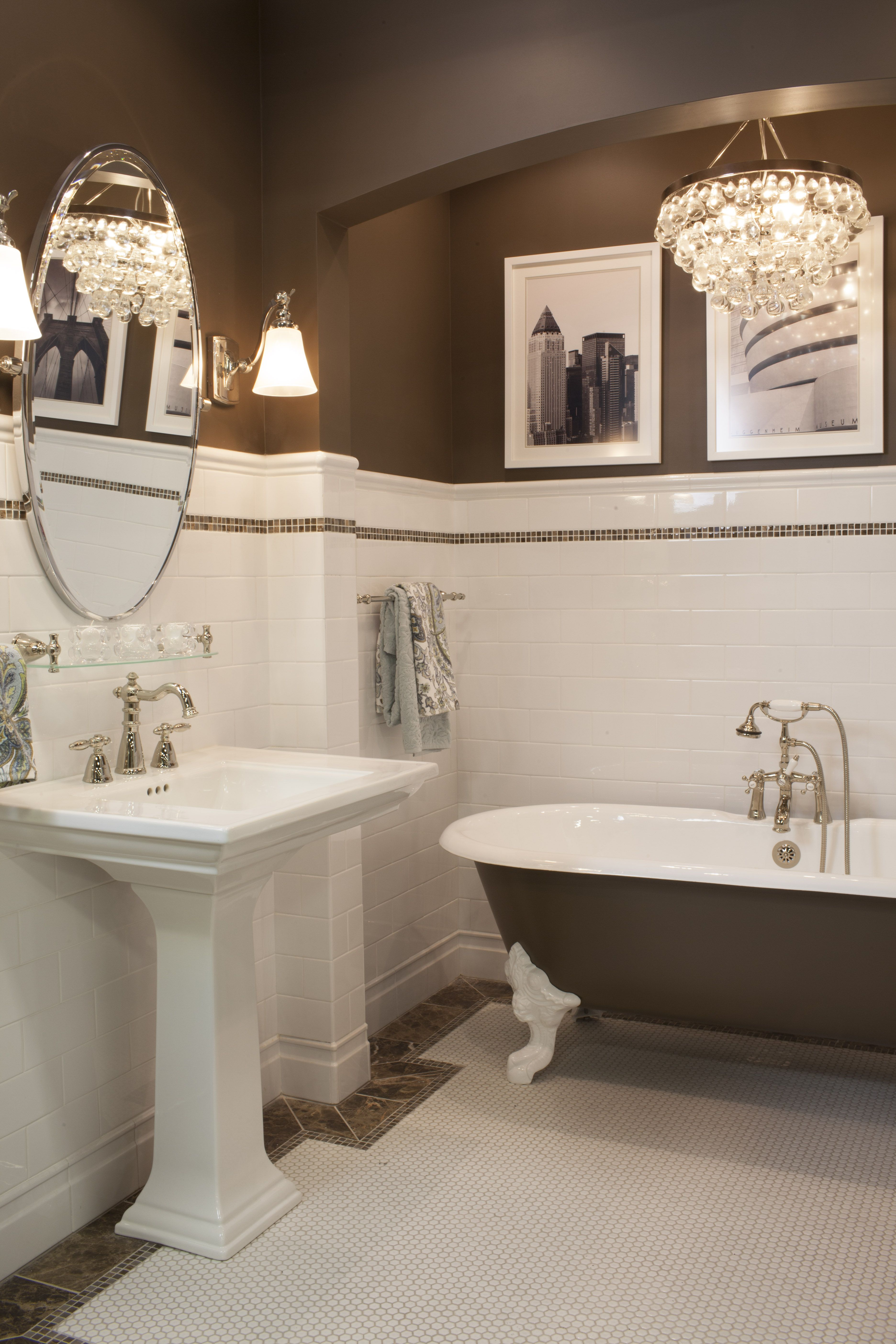 Ceramic subway tile wainscoting and hex mosaic is always a classic ...