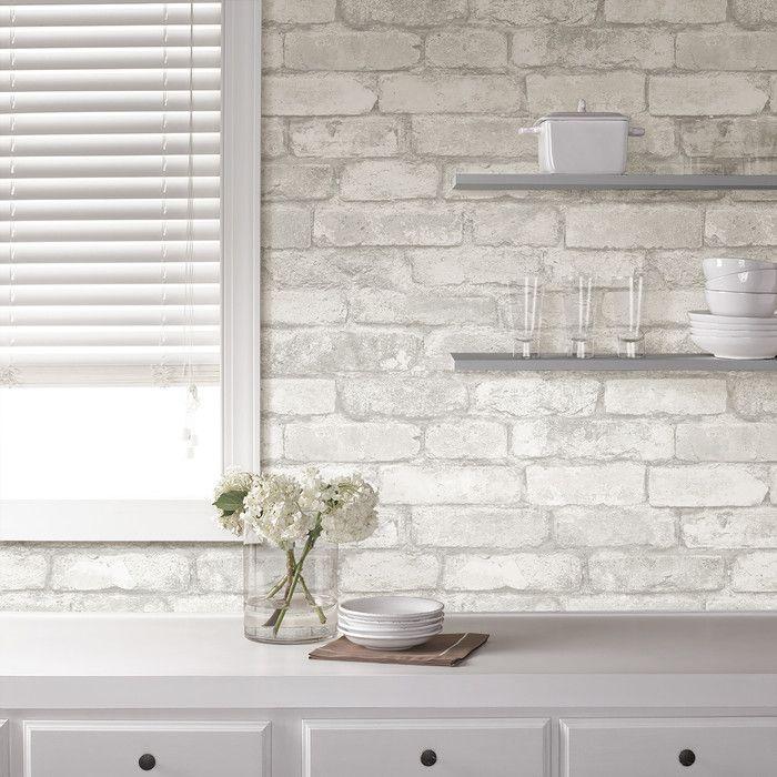 Grey And White Brick Peel And Stick Wallpaper Reviews Allmodern White Brick Backsplash White Brick Brick Temporary Wallpaper