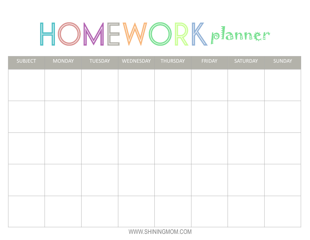 Free Printable: Homework Planner | Top Free Printables | Homework ...