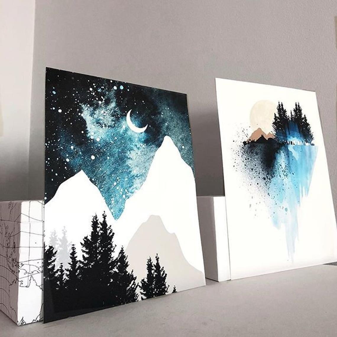 Blauer Berg Wand Kunst Kunstdrucke Aquarell Plakat Druck Natur