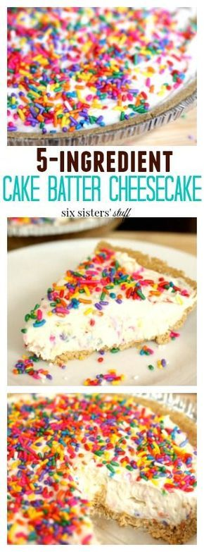 5 Ingredient Cake Batter Cheesecake Dessert - a fun party recipe that kids will love. There's never too many sprinkles!