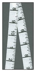 Measuring Tape 16mm Reversible Twill Ribbon...Price Per Yard: $1.95 Fiber Content: Polyester Exact Width (MM): 16 Approx. Width (Inches): 5/8